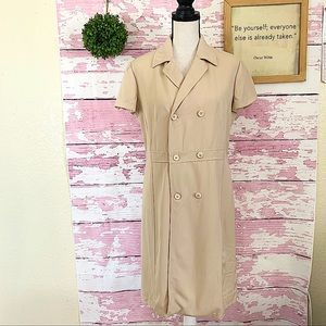 ALBERTA FERRETTI Tan Short Sleeve Collared Dress